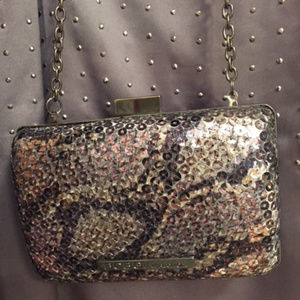BCBGeneration Sequin Clutch with Chain